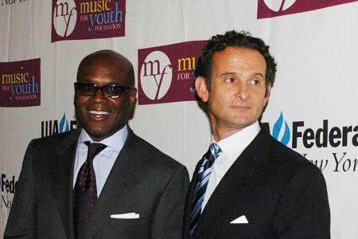 "NEW YORK CITY, NY - JULY 18: Antonio ""L.A."" Reid and Charles Goldstuck attend UJA-Federation of New York's 2006 Music Visionary Awards Luncheon at The Pierre Hotel Ballroom on July 18, 2006 in New York City. (Photo by L.Wigger/Patrick McMullan via Getty Images)"