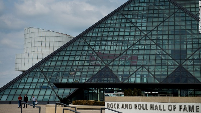 The Rock and Roll Hall of Fame and Museum  on the shore of Lake Erie in downtown Cleveland, U.S., on Sunday, April 13, 2014. Photographer: Ron Antonelli/Bloomberg *** Local Caption ***